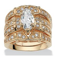 Yellow Gold-plated Cubic Zirconia Bridal Ring Set - White