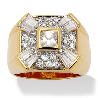 PalmBeach Men's 2.47 TCW Princess-Cut Bezel-Set Cubic Zirconia 14k Yellow Gold-Plated Classic Ring