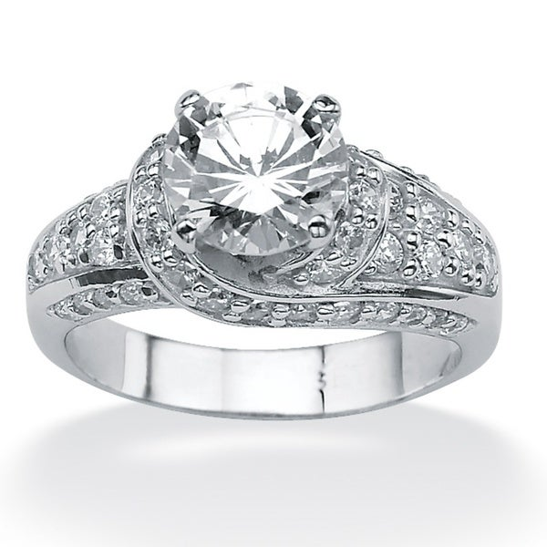 3.51 TCW Round Cubic Zirconia Platinum over Sterling Silver Engagement Anniversary Ring Gl