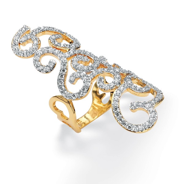 2.70 TCW Round Cubic Zirconia 14k Gold-Plated Elongated Swirl Ring Glam CZ