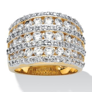 Yellow Gold-plated Cubic Zirconia Multi Row Dome Ring - White