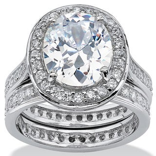 6.47 TCW Oval-Cut Cubic Zirconia Two-Piece Halo Bridal Set in Platinum over Sterling Silve