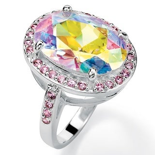 Silvertone 13 3/5 TCW Oval-Cut Aurora Borealis and Pink Cubic Zirconia Cocktail Ring