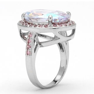Silver Tone Aurora Borealis and Pink Cubic Zirconia Halo Cocktail Ring - Multi