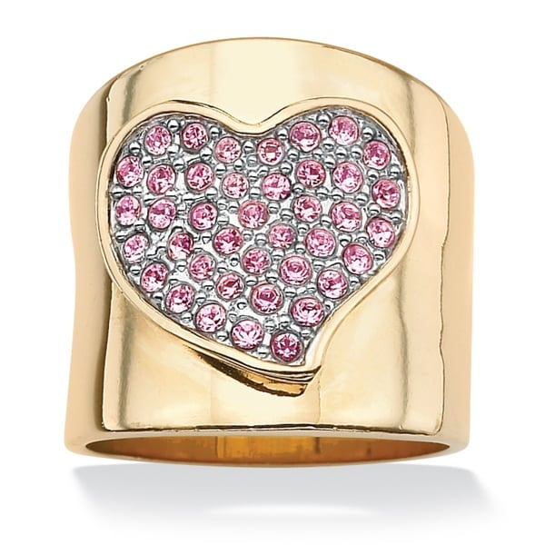 PalmBeach 14k Goldplated Free-Form Heart-Shaped Pink Crystal Band Ring Bold Fashion