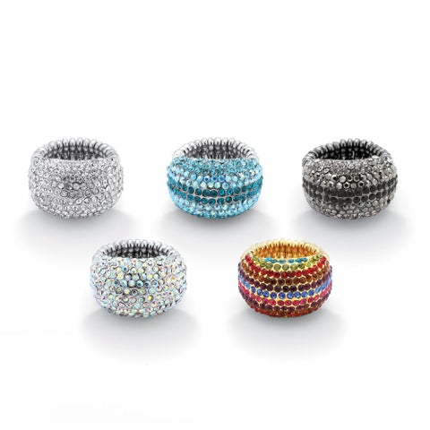 Five-Pair Set of Multicolor Crystal Stretch Rings in Black Rhodium-Plated, Gold Tone and S
