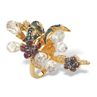 PalmBeach 17.18 TCW Briolette-Cut Cubic Zirconia and Glass 18k Gold-Plated Butterfly Ring Color Fun