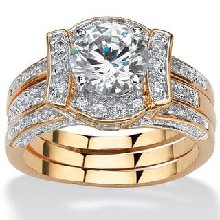 18k Gold-Plated 2 3/8ct TCW Round Cubic Zirconia 2-Piece Jacket Bridal Set