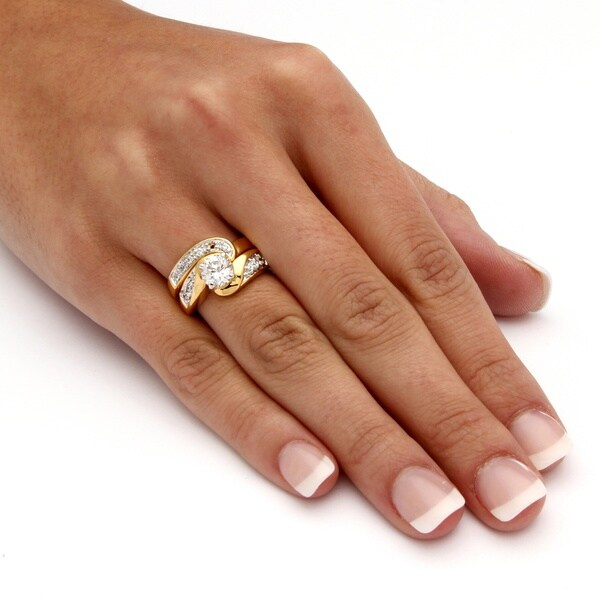 Round Cubic Zirconia Gold Plated Swirled Bridal Engagement