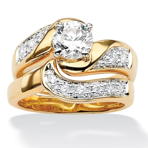 PalmBeach Round Cubic Zirconia 14k Gold-Plated Swirled Bridal Engagement Ring Wedding Band Set Class