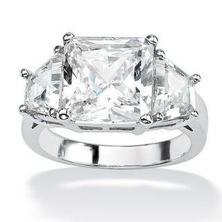 6.31 TCW Princess-Cut Cubic Zirconia Platinum over Sterling Silver 3-Stone Bridal Engageme