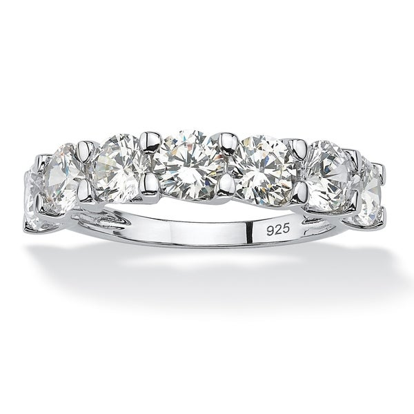Platinum over Sterling Silver Cubic Zirconia Wedding Band Ring - White