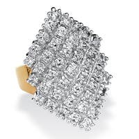 2.58 TCW Round Cubic Zirconia 14k Gold-Plated Marquise-Shaped Cocktail Ring Glam CZ
