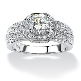 2.26 TCW Cubic Zirconia Platinum over Sterling Silver Octagon-Shaped Engagement Anniversar