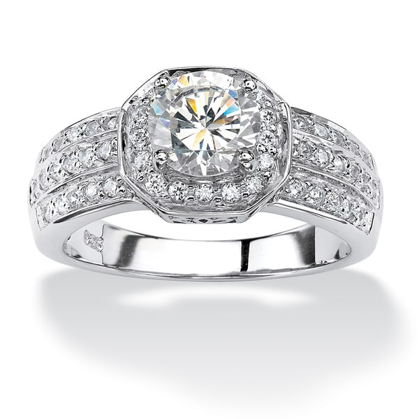 PalmBeach 2.26 TCW Cubic Zirconia Platinum over Sterling Silver Octagon-Shaped Engagement Anniversary Ring Glam CZ
