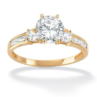 2.14 TCW Round Cubic Zirconia 18k Gold over Sterling Silver Engagement Anniversary Ring Cl