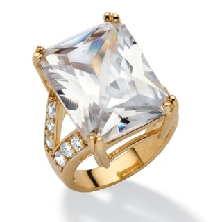 27.10 TCW Emerald-Cut Cubic Zirconia 14k Yellow Gold-Plated Ring Glam CZ
