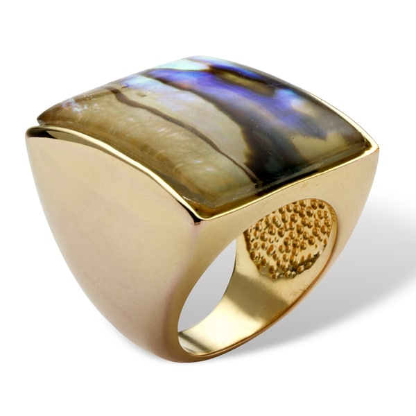 PalmBeach Genuine Abalone 14k Yellow Gold-Plated Square Cocktail Ring Naturalist