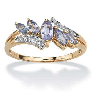 PalmBeach .76 TCW Genuine Purple Tanzanite with Diamond Accent 18k Gold over Sterling Silver Ring