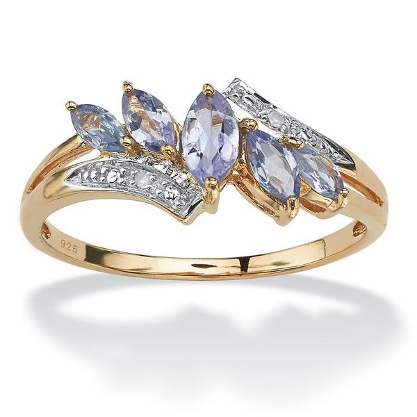 .76 TCW Genuine Purple Tanzanite with Diamond Accent 18k Gold over Sterling Silver Ring