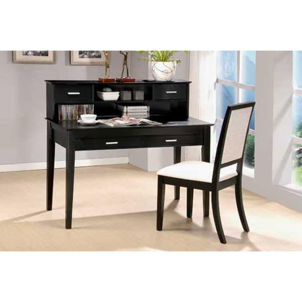 Black Grain Veneer 2-piece Writing Desk and Chair Set