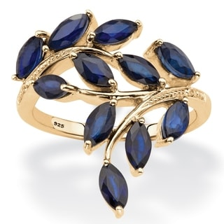 PalmBeach 2 64 TCW Genuine Marquise-Cut Midnight Blue Sapphire Ring in 18k Gold over Sterling Silver