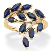 2 64 TCW Genuine Marquise-Cut Midnight Blue Sapphire Ring in 18k Gold over Sterling Silver - Yellow
