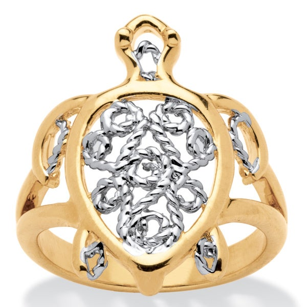 PalmBeach Filigree Turtle Ring in 18k Gold-Plated Tailored