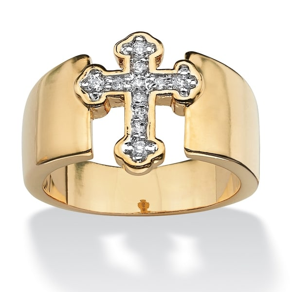 Gold Tone Cubic Zirconia English Cross Ring - White