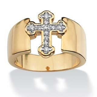 Round Cubic Zirconia Accent Cross Band in Yellow Gold Tone Glam CZ