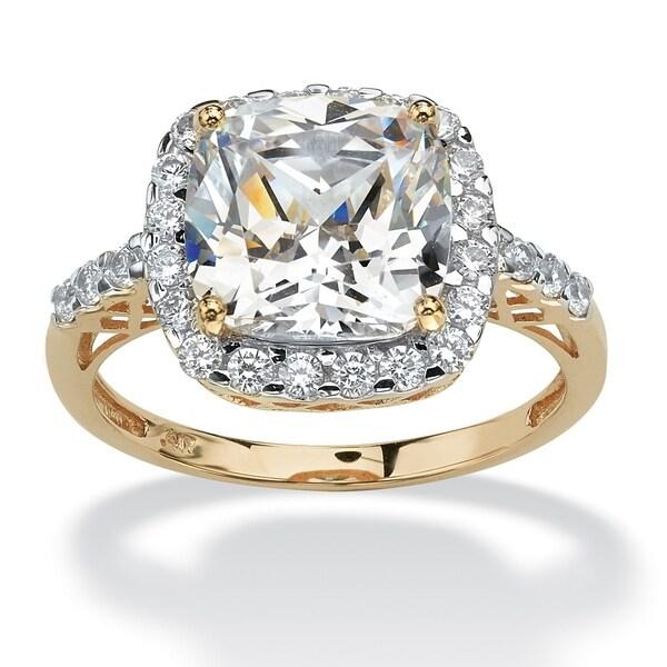 ab7f016f9283dd Shop 10K Yellow Gold Cubic Zirconia Cutout Halo Engagement Ring ...