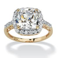 10K Yellow Gold Cubic Zirconia Cutout Halo Engagement Ring - White