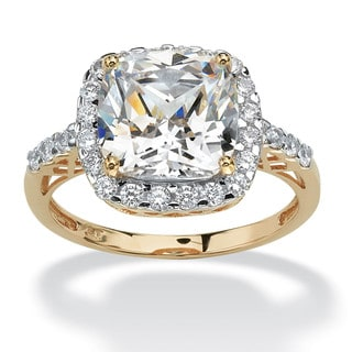 3.20 TCW Cushion-Cut Cubic Zirconia Cutout Halo Engagement Ring in 10k Yellow Gold Glam CZ