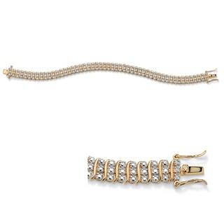 "Diamond Accent S-Link Tennis Bracelet 14k Gold-Plated 8"""