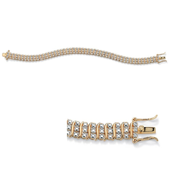 PalmBeach Diamond Accent S-Link Tennis Bracelet 14k Gold-Plated 8""