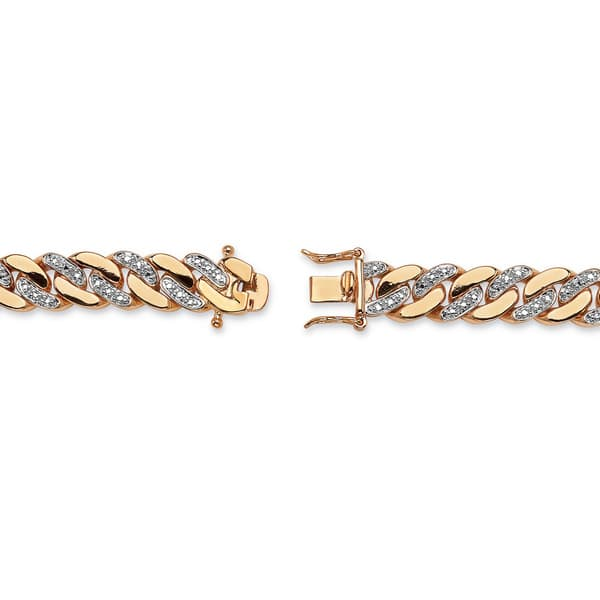 Shop Men S 18k Yellow Goldplated Diamond Accent Curb Link Bracelet On Sale Overstock 7377954