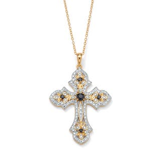 1/2 TCW Genuine Midnight Sapphire and Diamond Accented Cross Pendant 18k Gold over Sterlin|https://ak1.ostkcdn.com/images/products/7377957/P14837859.jpg?impolicy=medium