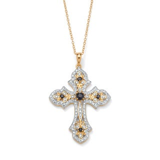 1/2 TCW Genuine Midnight Sapphire and Diamond Accented Cross Pendant 18k Gold over Sterlin