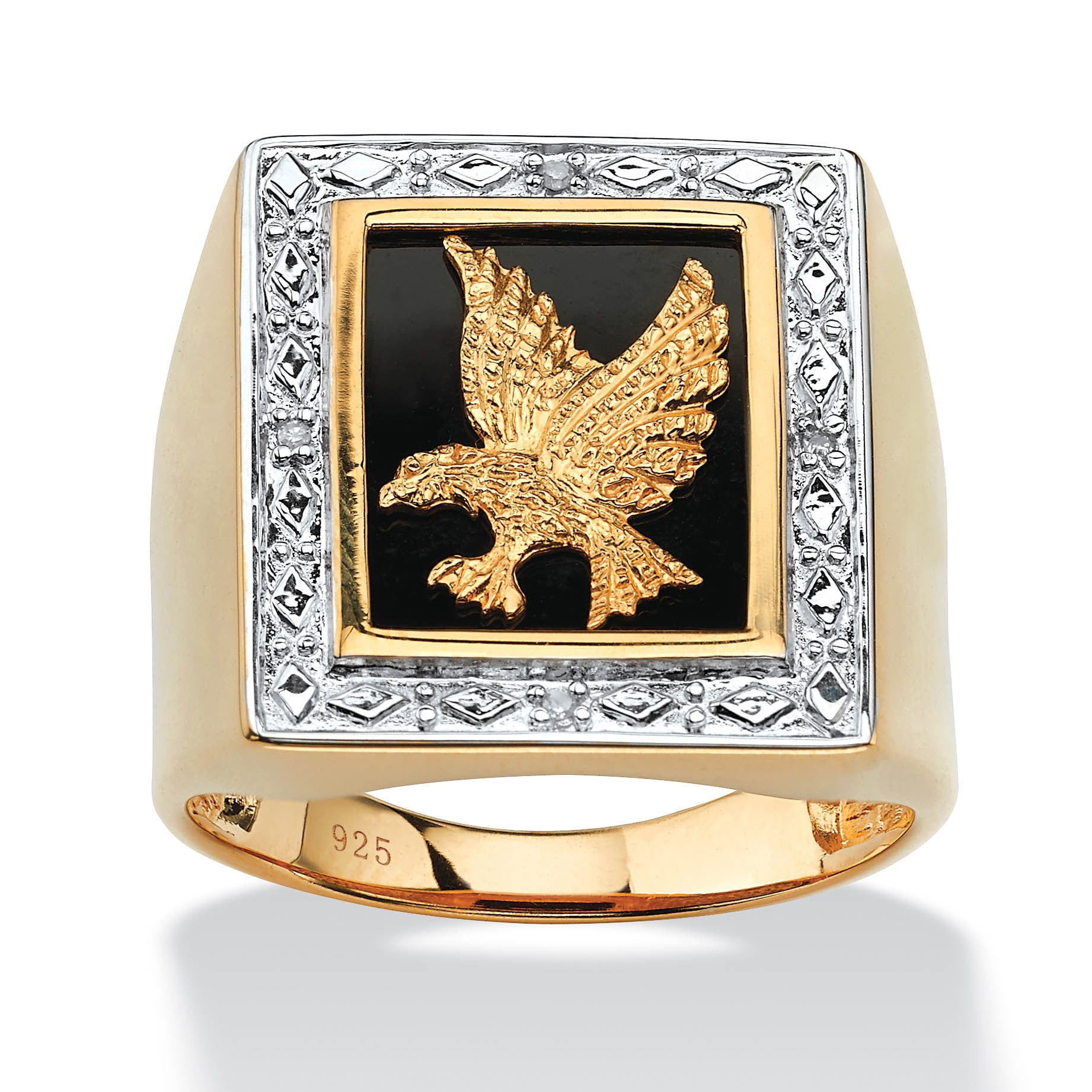 Palm Beach Men's Onyx and Diamond Accent Eagle Ring in 14...