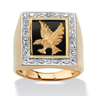 Men's Onyx and Diamond Accent Eagle Ring in 14k Gold over Sterling Silver