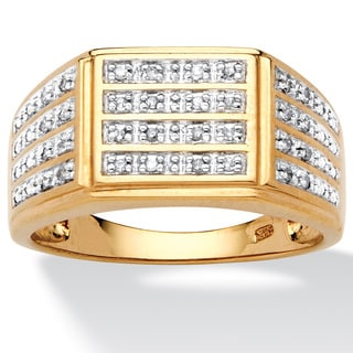 PalmBeach Men's 1/6 TCW Pave Diamond Multi-Row Ring in 18k Gold over Sterling Silver