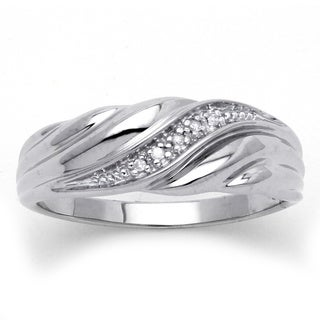 Men's Diamond Accent Platinum over Sterling Silver Diagonal Swirl Wedding Band