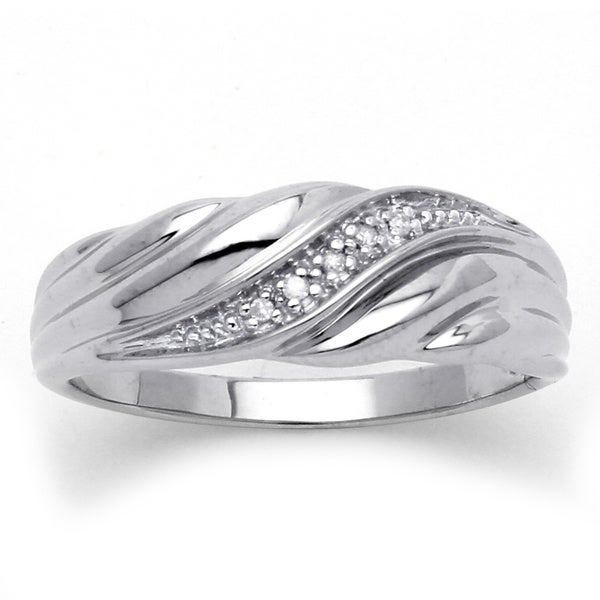 PalmBeach Men's Diamond Accent Platinum over Sterling Silver Diagonal Swirl Wedding Band