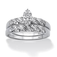 Platinum Over Sterling Silver 1/10 TCW Round Diamond Bridal Set