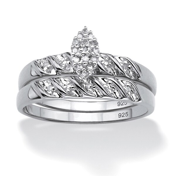 PalmBeach Platinum Over Sterling Silver 1/10 TCW Round Diamond Bridal Set