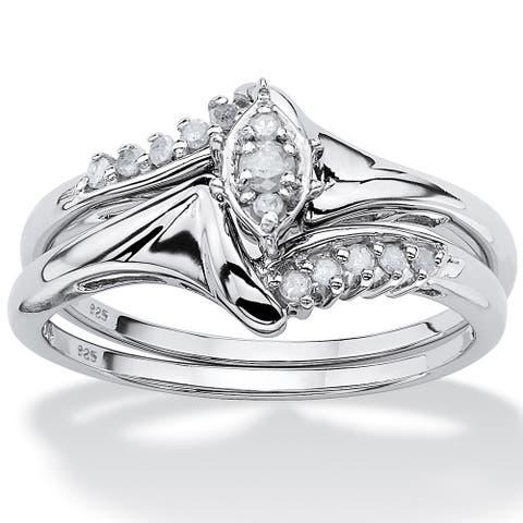 Platinum/Silver 1/5 TCW Round Diamond Two-Piece Bridal Set