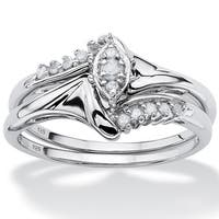 Platinum/Silver 1/5 TCW Round Diamond Two-Piece Bridal Set