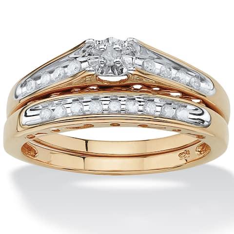 18k Gold/Silver 1/5 TCW Round Diamond Channel-Set Two-Piece Bridal Set