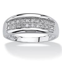 1/4 TCW Round Diamond Platinum over Sterling Silver Channel-Set Double-Row Anniversary Wed