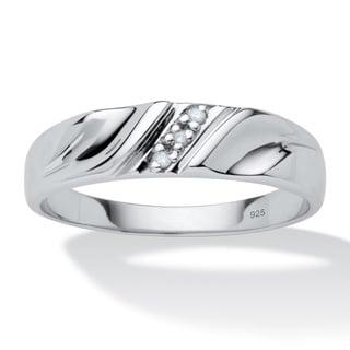 PalmBeach Men's Diamond Accent Platinum over Sterling Silver Diagonal-Set Wedding Band